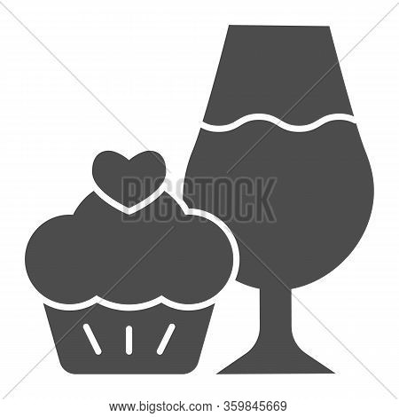 Cupcake And A Glass Of Wine Solid Icon. Wineglass With Sweet Muffin Dessert Glyph Style Pictogram On