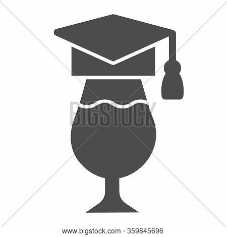 Graduation Hat And Wine Glass Solid Icon. Wineglass Wearing Academic Cap Glyph Style Pictogram On Wh