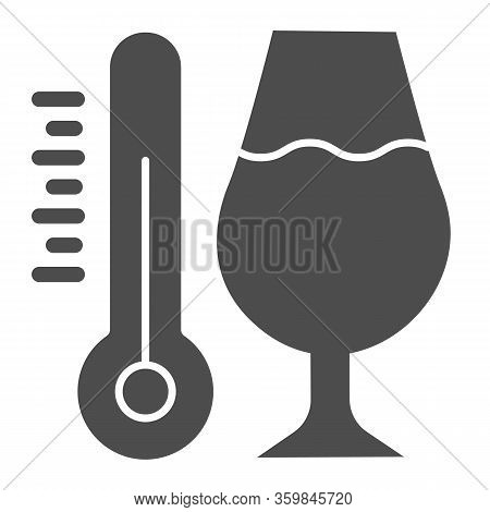 Thermometer And A Glass Of Wine Solid Icon. Alcohol Drink In Wineglass With Thermometer Glyph Style