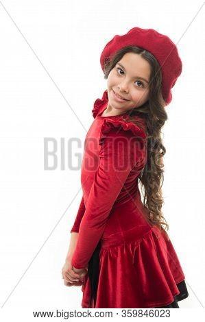 Parisian Lady. Happy Child In French Beret. Retro Kid Fashion. Pretty Little Girl Wear Red Barret. C