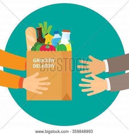 Hands Hold Paper Shopping Bag Full Of Groceries Products. Grocery Store. Paper Bag Full Of Products,