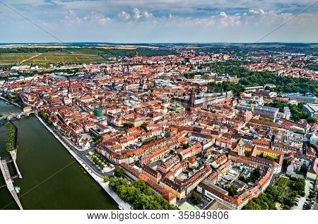 Aerial View Of Wurzburg In Lower Franconia - Bavaria, Germany
