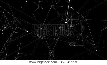 Network Of Bright Connected Lines.digital Plexus Of Glowing Lines, Dots. Network Or Connection. Abst