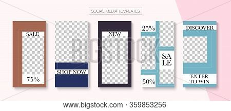 Mobile Stories Vector Collection. Hipster Sale, New Arrivals Story Layout. Online Shop Elegant Invit