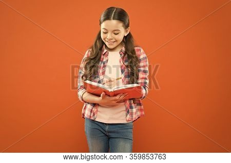 Girl Cute Write Down Idea Notes. Notes To Remember. Write Essay Or Notes. Exercising Writing Workboo