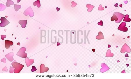 Flying Hearts Vector Confetti. Valentines Day Tender Pattern. Beautiful Pink Scatter Valentines Day