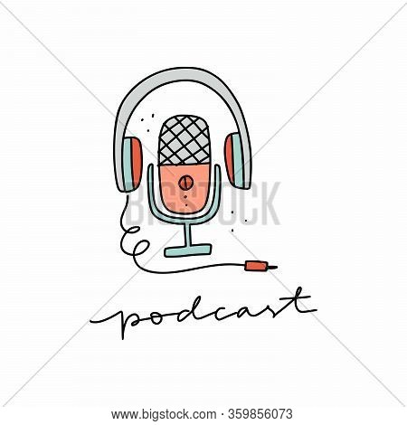 Media Tools, Earphones And Mic Doodle Icon. Sound Recording Equipment, Broadcasting Facilities Handd