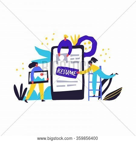 Online Cv, Resume Hand Drawn Vector Illustration. Unemployed People, Applicants Filling Professional