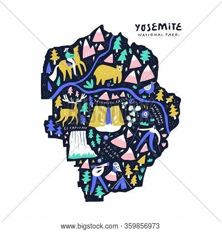 Yosemite National Park Map Flat Vector Illustration. Famous Tourist Spot, Natural Parkland Abstract
