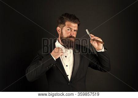 Moustache Season. Businessman Wear Long Beard And Moustache. Bearded Man With Stylish Moustache Hair