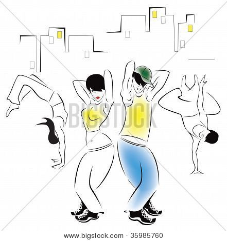 Illustration of dancing young people in the background of the urban landscape