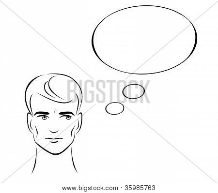 Illustration of a thinking man with a cloud for your text.