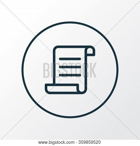 Manuscript Icon Line Symbol. Premium Quality Isolated Scroll Element In Trendy Style.