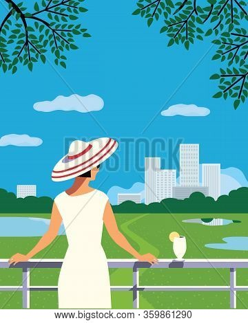 Woman On Staycation At Home Balcony In City House Flat Vector. Staying Home Vacation Enjoy Cartoon I