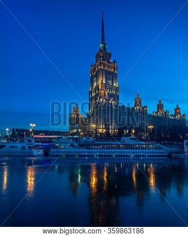 Moscow, Russia - 12 27 2015: The Hotel Ukraina, A Five-star Luxury Hotel On A Bend Of The Moskva Riv
