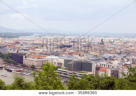 Budapest Hungary Cityscape  Panorama With Danube River