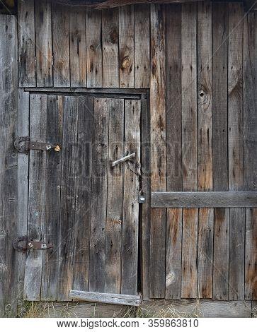Old Wooden Brown Door, Brown Boards, Vintage Decrepit Texture