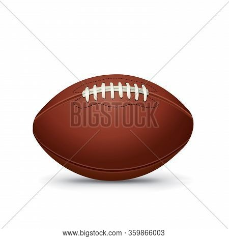 Realistic American Football Isolated On White Illustration