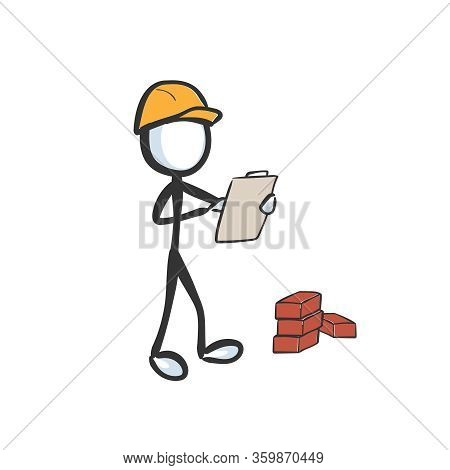 Construction Worker Wearing Yellow Safety Helmet. Developement Building Plan. Hand Drawn. Stickman C