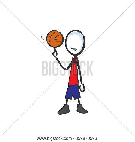 Basketball Player. Team Game. Spinning Ball On Finger. Sports Activity. Hand Drawn. Stickman Cartoon