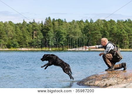The Labrador retriever is commanded to fetch poster
