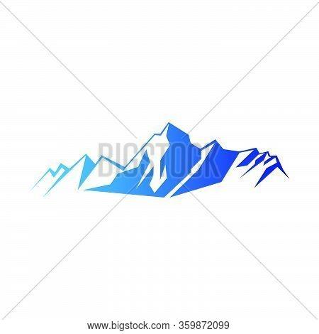 Blue Gradient Everest Mountain Illustration Isolated On White Background
