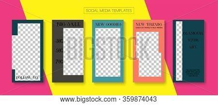 Mobile Stories Vector Collection. Blogger Tech Design, Social Media Kit Template. Tech Sale, New Arr