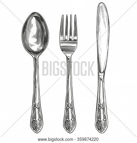 Cutlery Set Fork, Spoon, Knife, Cooking, Table Setting Hand Drawn Vector Illustration Realistic Sket