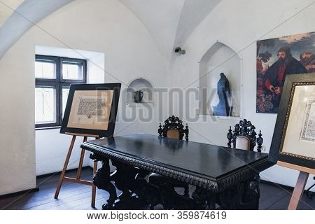 Bran, Romania - September 7, 2017: Room Of Castellans With Table In Late Renaissance Style, Bronze S
