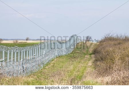 Border Fence Between Rastina (serbia) & Bacsszentgyorgy (hungary). This Border Wall Was Built In 201