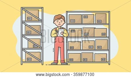 Concept Of Warehouse. Male Character Is Writing In Notebook. Storehouse Worker Make Inventory In War