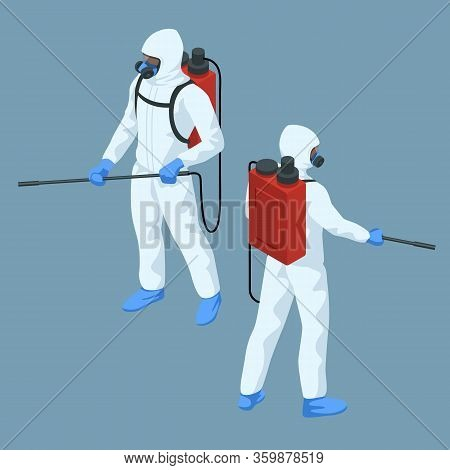 Isometric Man In A White Suit Disinfects The Street With A Spray Gun. Virus Pandemic Covid-19. Preve
