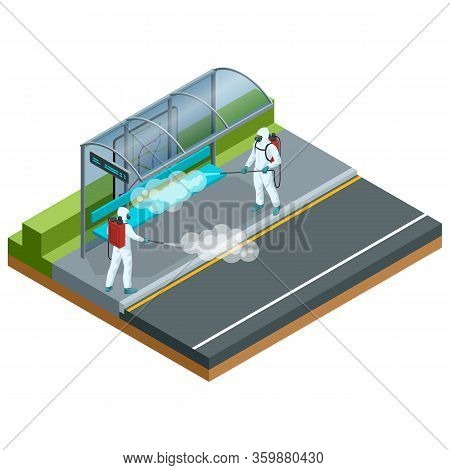 Isometric Man In A White Suit Disinfects Bus Stop With A Spray Gun. Virus Pandemic Covid-19. Prevent