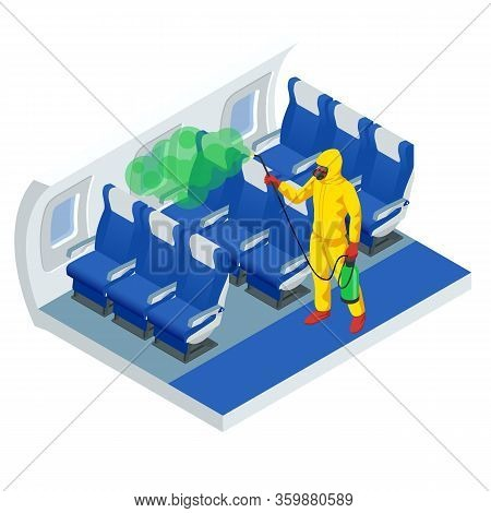 Isometric Man In A White Suit Disinfects Aircraft Cabin With A Spray Gun. Virus Pandemic Covid-19. P