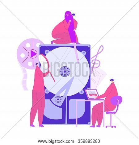 Vector Flat Enlarged Hard Disk, Around Which Are Located People Who Are Engaged In Repairing It. Con
