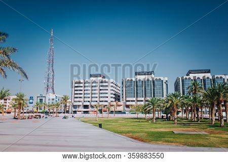 Riyadh, Saudi Arabia - November 6, 2019: Saudi Arabia Riyadh Landscape - Riyadh Tower Kingdom Centre