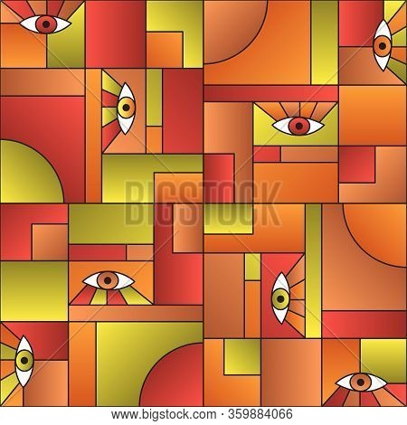 Hipster Pattern With Eyes In Geometric Shapes Grid Mondrian Avant Garde Fashion Textile Print. Patch
