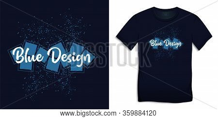 Print On T-shirt Graphics Design, Spattered Spray Circles And Squares, Dark Blue Background Vector