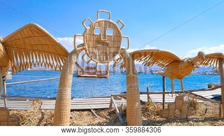 Titicaca Lake Peru, August 16. Morning On Lake Titicaca. These Are The Typical Straw Sculptures On T