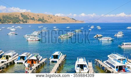 Titicaca Lake Bolivia 16, August Wonderful View Of Copacabana Bay And Lake With Moored Boats  That B