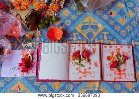 New Accounts Books Opened To Start Writing In New Year, Are Being Worshipped On Auspicious Day Of Be
