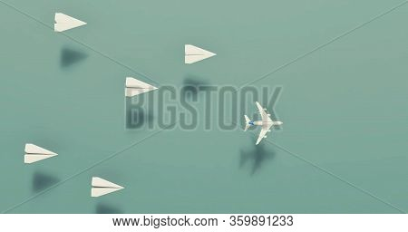 Flying Paper Airplanes. Outside The Box Concept . Different Mindset , Work Smarter Not Harder Concep