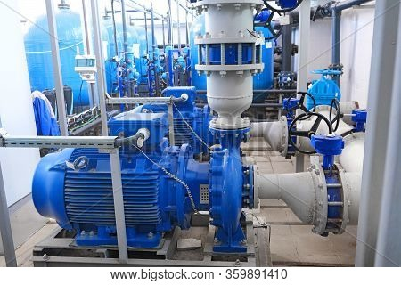 Water Or Wastewater Treatment Facilities Inside Or Indoors, Blue High-pressure Pumps Engines And Gra