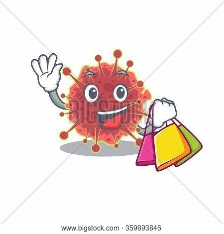 Rich And Famous Coronaviridae Cartoon Character Holding Shopping Bags