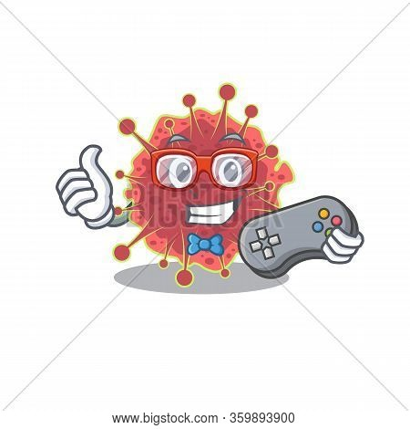 Mascot Design Concept Of Coronaviridae Gamer Using Controller