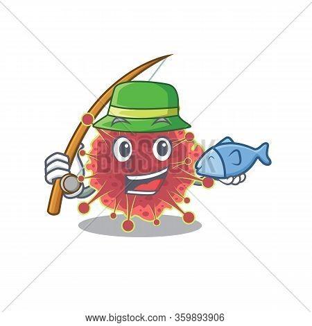 Cartoon Design Concept Of Coronaviridae While Fishing