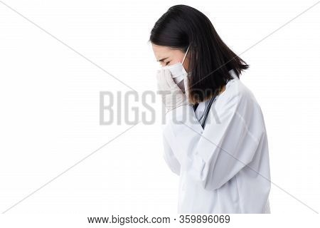 Beautiful Woman Doctor In Lab Coat Dress Wearing Surgical Hygiene Protective Mask Sneezing And Using