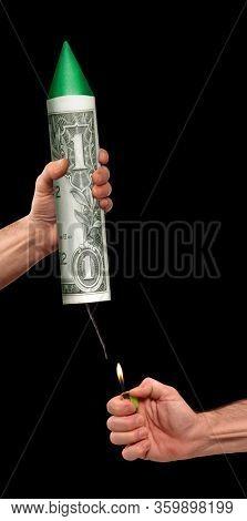 Launching the dollar economy on dollar bill rocket after the economic crisis on black background.Launch US economy.