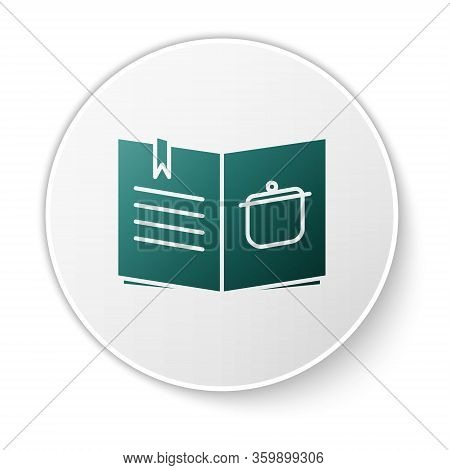 Green Cookbook Icon Isolated On White Background. Cooking Book Icon. Recipe Book. Fork And Knife Ico