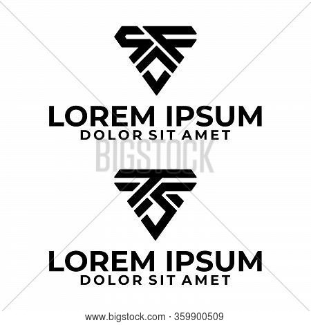 Initial Letter Sf And Ts Logo Template With Modern Sporty Triangle Symbol In Flat Design Monogram Il